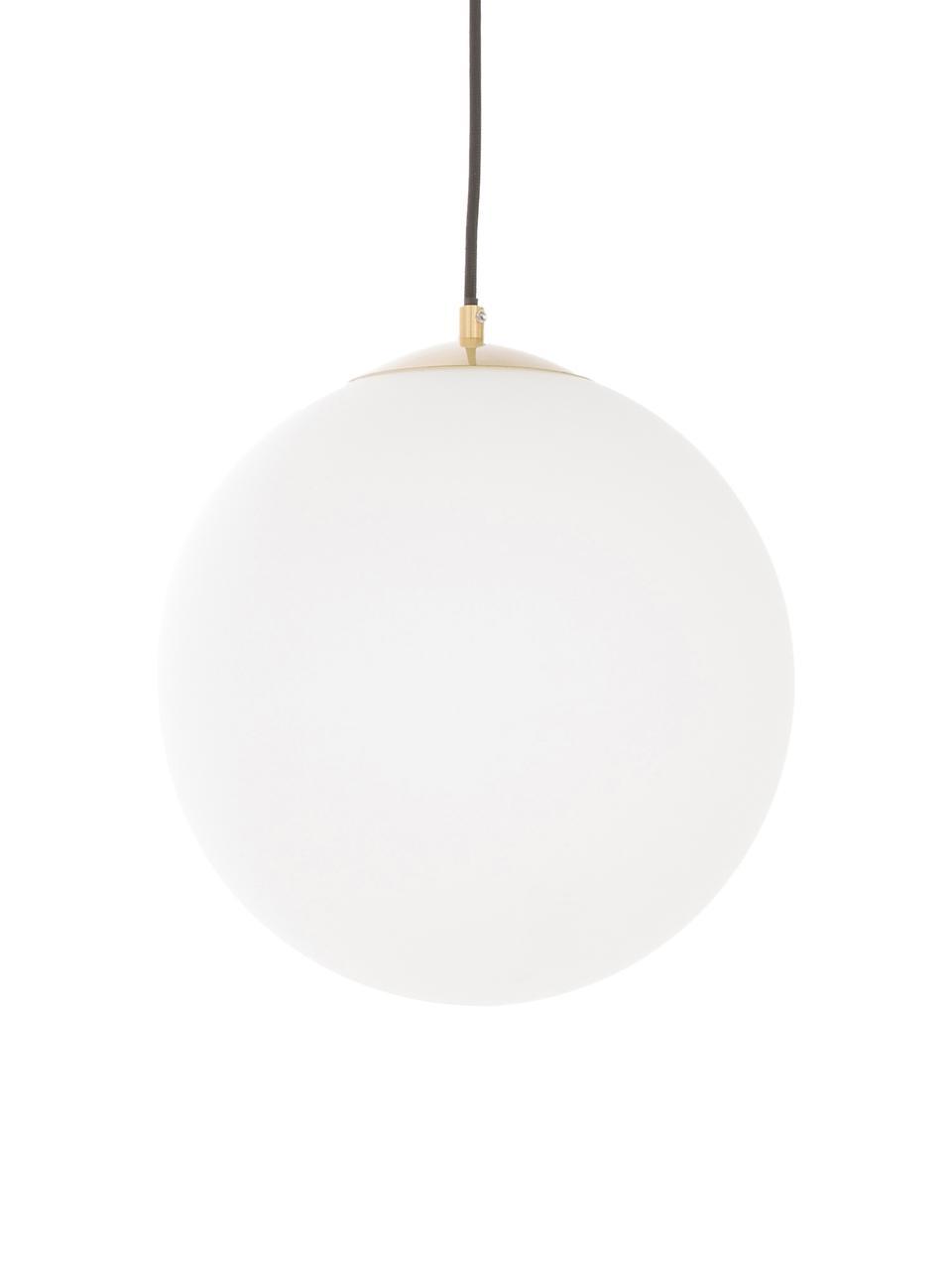 Závěsné svítidlo z opálového skla Beth, Bílá, mosazná