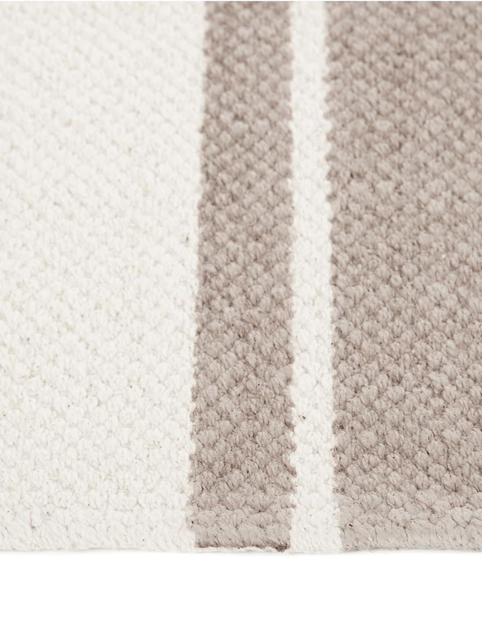 Gestreifter Baumwollläufer Vigga mit Quasten, handgewebt, Taupe, Beige, 80 x 250 cm