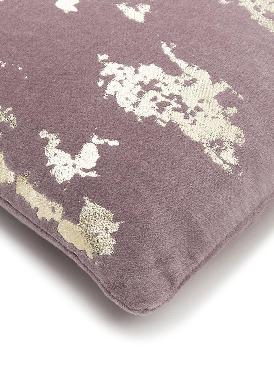 Funda de cojín Shiny, Terciopelo de algodón, Malva, dorado, An 40 x L 40 cm