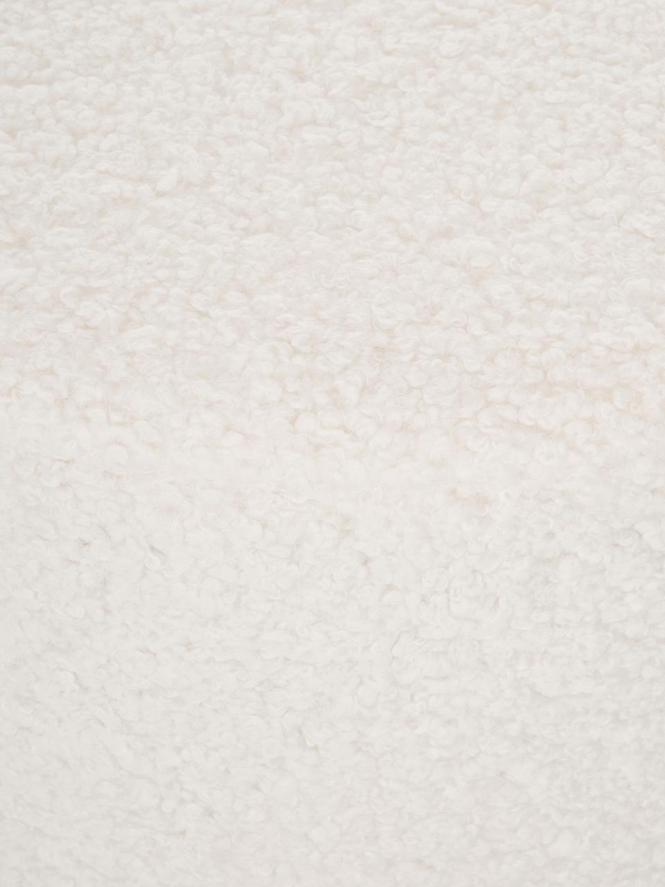 Teddy-Hocker Daisy, Bezug: Polyester (Teddyfell) 40., Rahmen: Sperrholz, Teddy Cremeweiß, Ø 54 x H 38 cm