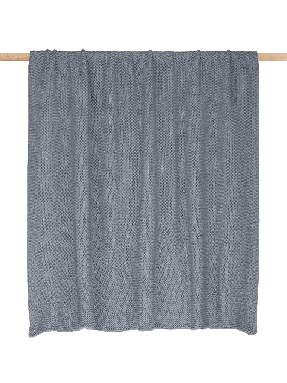 Coperta a maglia grigio chiaro Adalyn, 100% cotone, Grigio chiaro, Larg. 150 x Lung. 200 cm