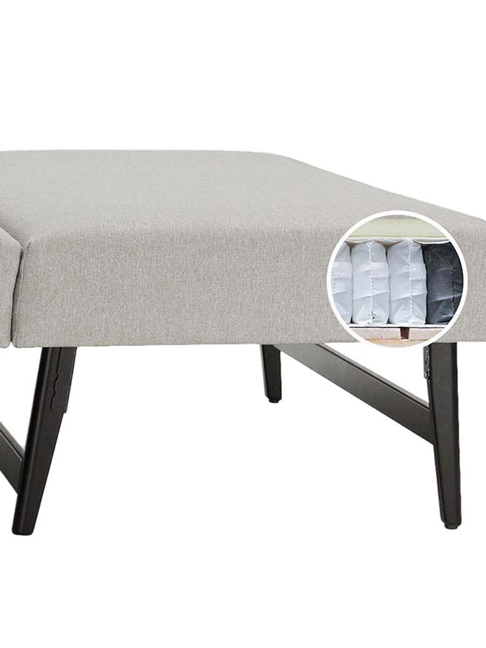 Schlafsofa Bruno (3-Sitzer) in Hellgrau, ausklappbar, Bezug: Pflegeleichtes robustes P, Rahmen: Massivholz, Webstoff Hellgrau, B 200 x T 84 cm