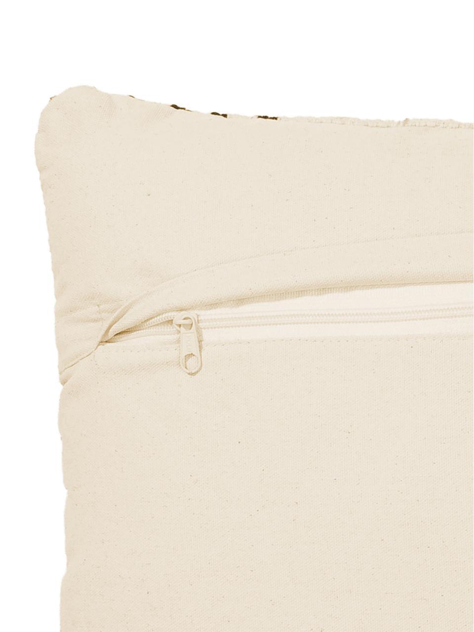 Kissen Loa, mit Inlett, 100% Baumwolle, Cremefarben, Schwarz, 40 x 60 cm