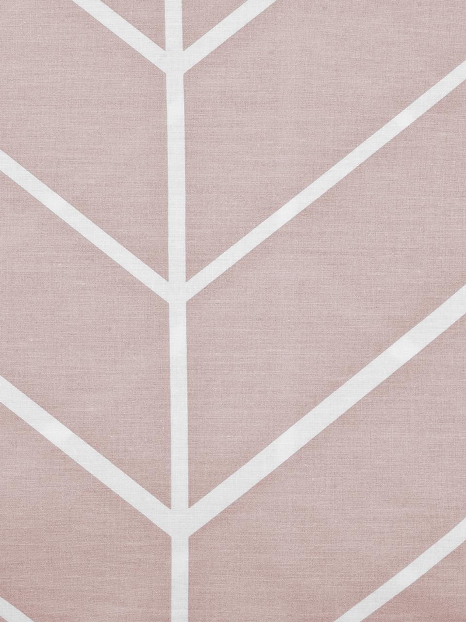 Pościel z bawełny renforcé Mirja, Brudny różowy, kremowobiały, 135 x 200 cm