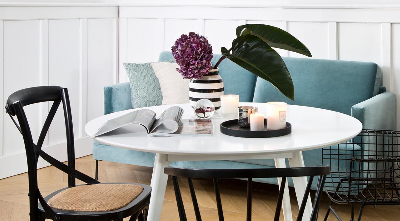 Runder Esstisch in Weiß aus Holz