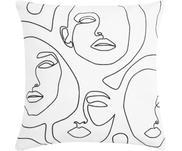 Kissenhülle Aria mit abstrakter One Line Zeichnung