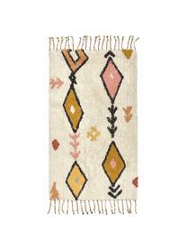 Teppich Bereber mit Ethno-Muster und Fransen, Baumwolle, Cremefarben, Mehrfarbig, B 150 x L 200 cm (Größe S)