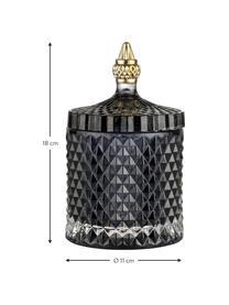 Opbergpot Miya, Glas, Zwart, Ø 11 x H 18 cm