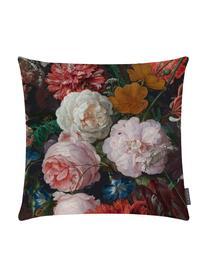 Samt-Kissenhülle Fiore mit dunklem Blumenmuster, 100% Polyestersamt, bedruckt, Anthrazit, Rosa, Rot, Gelb, Grün, Blau, 50 x 50 cm