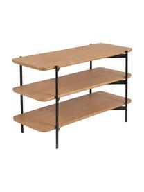 Standregal Easy aus Holz und Metall, Ablagefläche: Mitteldichte Holzfaserpla, Gestell: Metall, beschichtet, Schwarz, Braun, 90 x 55 cm