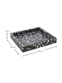 Tablett Hygge aus Terrazzo, Terrazzo, Schwarz, Weiß, B 20 x T 20 cm
