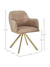 Samt-Drehstuhl Lola mit Armlehne, Bezug: Samtpolyester Der hochwer, Beine: Metall, galvanisiert, Samt Hellbraun, Beine Gold, B 55 x T 52 cm