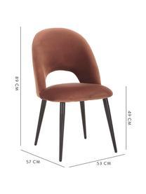 Krzesło tapicerowane z aksamitu Rachel, Tapicerka: aksamit (wysokiej jakości, Nogi: metal malowany proszkowo, Aksamitny brązowy, S 53 x G 57 cm