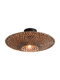 Boho plafondlamp Bali van bamboehout, Lampenkap: bamboehoutkleurig, Baldakijn: gecoat metaal, Beige, zwart, Ø 44 x H 12 cm