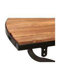 Table semi-circulaire de balcon, à plateau en bois Parklife, Noir, bois d'acacia