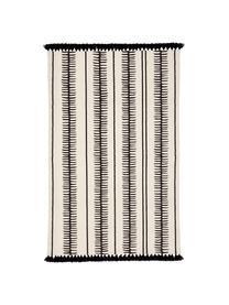 Ręcznie tkany dywan z bawełny z chwostami Rita, Beżowy, czarny, S 70 x D 140 cm (Rozmiar XS)