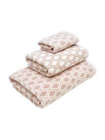 Wende-Handtuch-Set Ava mit grafischem Muster, 3-tlg., Rosa, Cremeweiß, Sondergrößen