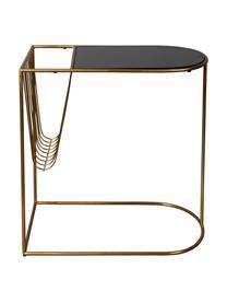 Mesa auxiliar con revistero Eileen, Estructura: metal con pintura en polv, Tablero: vidrio templado, Latón, negro, An 51 x F 32 cm