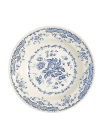 Assiette creuse vintage bleu Rose, 2pièces, Blanc, bleu