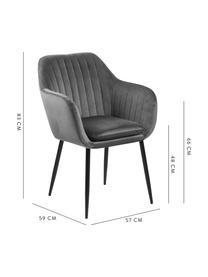 Fluwelen armstoel Emilia, Bekleding: polyester fluweel De bekl, Poten: gelakt metaal, Donkergrijs, zwart, B 57 x D 59 cm
