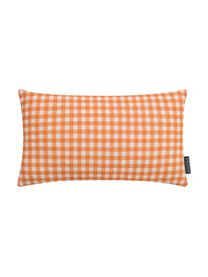 Karierte Kissenhülle Picnic, Webart: Halbpanama, Orange, Weiß, 30 x 50 cm
