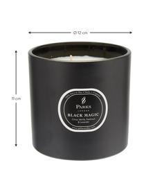 Dreidochtduftkerze Black Magic (Zitrus & Vanille), Behälter: Glas, Schwarz, Weiß, Ø 12 x H 11 cm