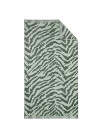 Strandtuch Belen mit Zebramuster in Grün, Vorderseite: Velours (GOTS), Rückseite: Jacquard, Hellgrün, Dunkelgrün, 100 x 180 cm