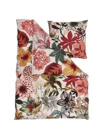 Baumwoll-Bettwäsche Fiori mit buntem Blumenmuster, 100% Baumwolle  Fadendichte 144 TC, Standard Qualität  Bettwäsche aus Baumwolle fühlt sich auf der Haut angenehm weich an, nimmt Feuchtigkeit gut auf und eignet sich für Allergiker, Beige, Mehrfarbig, 155 x 220 cm + 1 Kissen 80 x 80 cm