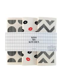 Set 3 panni assorbenti compostabili Paris, 70% cellulosa, 30% cotone, Bianco, grigio, rosso, Larg. 17 x Lung. 20 cm