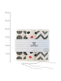 Kompostierbares Schwammtücher-Set Paris, 3er-Set, 70% Cellulose, 30% Baumwolle, Weiß, Grau, Rot, 17 x 20 cm