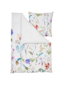Baumwollperkal-Bettwäsche Meadow mit Aquarell Blumen-Muster, Webart: Perkal Fadendichte 180 TC, Mehrfarbig, Weiß, 240 x 220 cm + 2 Kissen 80 x 80 cm
