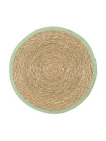 Tovaglietta americana rotonda Boho 2 pz, Alghe, Beige, verde, Ø 35 cm