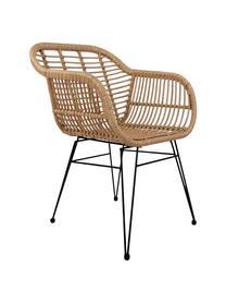 Polyrattan-Armlehnstühle Costa, 2 Stück, Sitzfläche: Polyethylen-Geflecht, Gestell: Metall, pulverbeschichtet, Hellbraun, Beine Schwarz, B 59 x T 58 cm