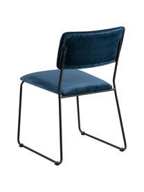 Sedia imbottita in velluto Cornelia 2 pz, Rivestimento: velluto di poliestere 25., Gambe: metallo laccato, Blu scuro, nero, Larg. 50 x Prog. 54 cm