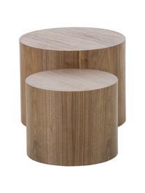 Komplet stolików pomocniczych z drewna Dan, 2 elem., Płyta pilśniowa (MDF), fornir z drewna orzechowego, Ciemnobrązowy, Komplet z różnymi rozmiarami
