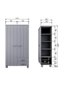 Kleiderschrank Dennis mit Schubladen, Korpus: Kiefernholz, gebürstet un, Grau, 111 x 202 cm