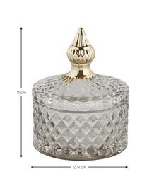 Opbergpot Miya, Glas, Grijs, transparant, goudkleurig, Ø 9 x H 11 cm