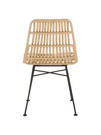 Polyrotan stoelen Costa, 2 stuks, Zitvlak: polyethyleen-vlechtwerk, Frame: gepoedercoat metaal, Zitvlak: lichtbruin, gevlekt. Frame: mat zwart, B 47 x D 61 cm