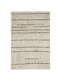 Flauschiger Hochflor-Teppich Dunya, handgetuftet, Flor: 100% Polyester, Beige, Schwarz, B 200 x L 300 cm (Größe L)