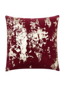 Federa arredo vintage in velluto lucido Shiny, Velluto di cotone, Rosso, dorato, Larg. 40 x Lung. 40 cm