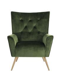 Fotel uszak z aksamitu Bodiva, Tapicerka: poliester (aksamit), Nogi: metal lakierowany, Leśny zielony, odcienie mosiądzu, S 82 x G 88 cm