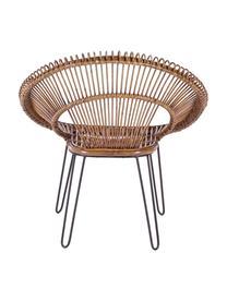 Krzesło z rattanu Esteban, Nogi: stal, Siedzisko: rattan Nogi: stal, S 64 x W 89 cm