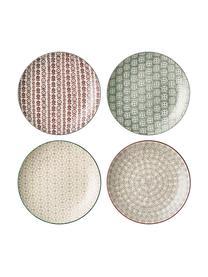 Set 4 piatti piani con piccolo motivo Karine, Terracotta, Multicolore, Ø 25 cm