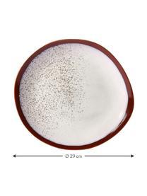 Piatto piano stile retrò fatto a mano 70's 2 pz, Gres, Rosso, bianco, Ø 29 cm