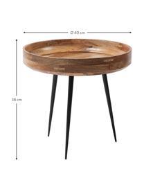 Kleine design bijzettafel Bowl Table van mangohout, Tafelblad: gelakt mangohout, Poten: gepoedercoat staal, Mangohoutkleurig, zwart, Ø 40 x H 38 cm