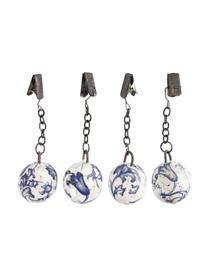 Zestaw obciążników na obrus Evie, 4 elem., Ceramika, Niebieski, biały, metal, Ø 3 x W 11 cm