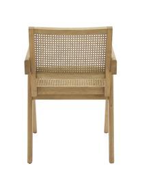 Sedia con braccioli e intreccio viennese Sissi, Struttura: legno di quercia massicci, Seduta: rattan, Struttura: legno di quercia Seduta: beige, Larg. 52 x Prof. 58 cm