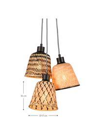 Kleine hanglamp Kalimantan van bamboehout, Lampenkap: katoen, Lampvoet: keramiek, Beige, zwart, Ø 17 x H 16 cm