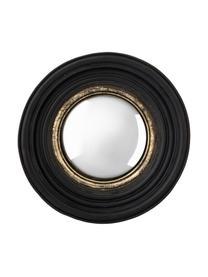 Runder Wandspiegel Resi mit gewölbter Spiegelfäche, Rahmen: Polyresin, Spiegelfläche: Spiegelglas, Schwarz, Goldfarben, Ø 26 cm