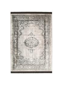 Vintage Teppich Marvel mit Fransen, Flor: 66% Kunstseide, 25% Baumw, Dunkelgrau, Hellgrau, Hellbeige, B 170 x L 240 cm (Größe M)